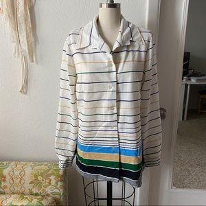 VINTAGE 1970s Striped Gradient Polyester Blazer